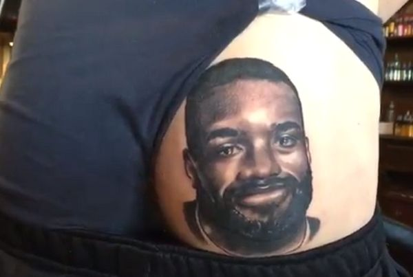 Arsenal fan with Alexandre Lacazette tattoo on his bum