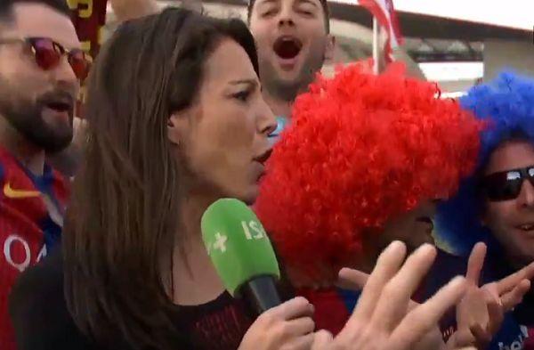 Barcelona fans overwhelm Canal Plus reporter Marina Lorenzo