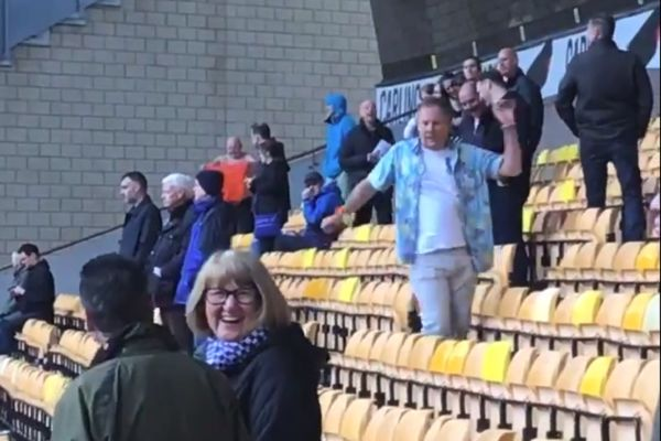 Sheffield Wednesday fan dancing in the stands at Wolves