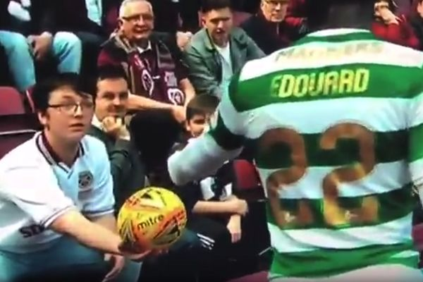 Hearts fan throws the ball away from Celtic's Odsonne Edouard during 1-3 defeat