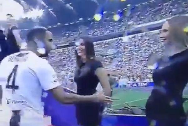 Models leave Medhi Benatia hanging during Juventus celebrations