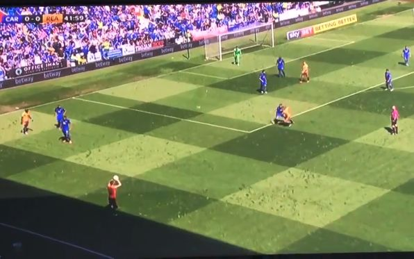 Reading's Chris Gunter appears to take throw-in from line cast by shadow