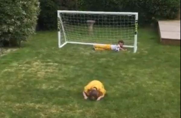 Little girl mimics Mo Salah goal celebration