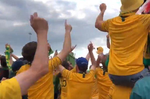 "Australia fans chant ""VAR"" after 1-1 draw v Denmark"