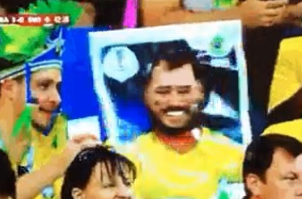 Brazil fan's Panini sticker costume at the World Cup