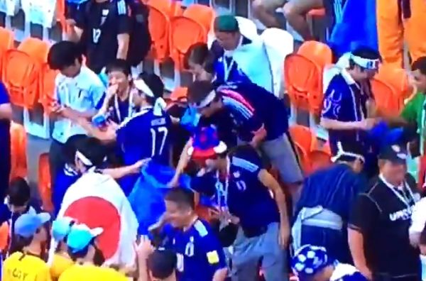 Japan fans tidy up at World Cup Russia 2018