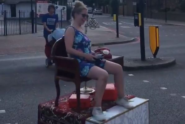 """Woman drives mobile living room to pub to announce """"it's coming home"""""""