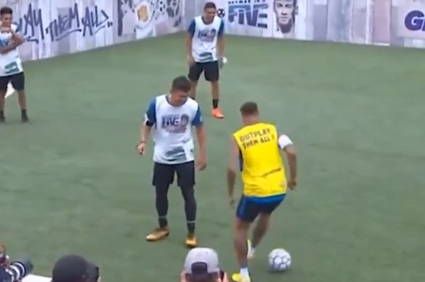 Before Neymar barges a kid in a five-a-side match, he taunts him with step-overs