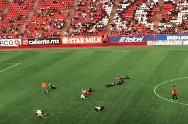 Fans roll across pitch for Club Tijuana's Neymar challenge