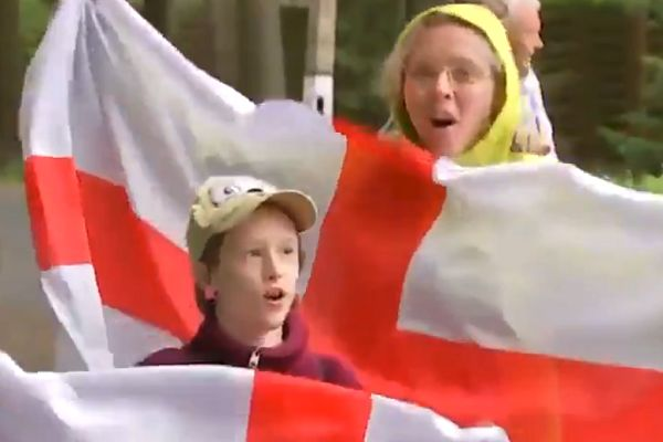"A Russian woman and child sing ""It's coming home"" for the Sky Sports cameras in Russia for the World Cup"