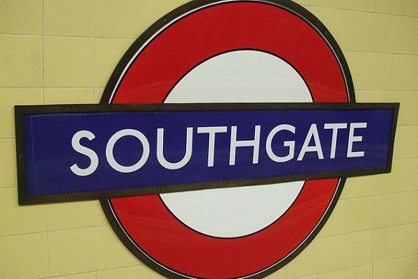 A woman ripped down a Gareth Southgate Tube sign at Southgate Underground station