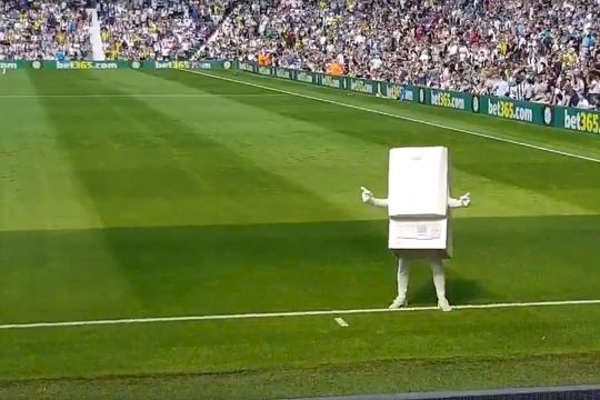 West Brom's boiler mascot, Boiler Man, after the club signed a sponsorship deal with Ideal Boilers