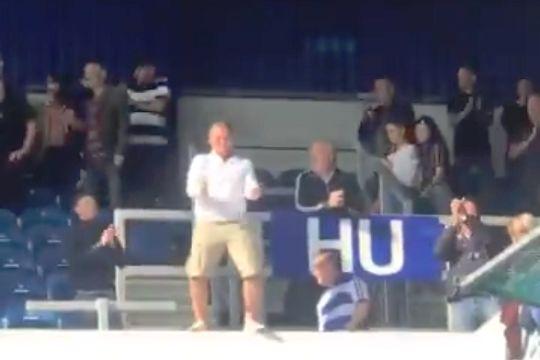 Dancing QPR fan at Loftus Road celebrating their 1-0 win over Wigan