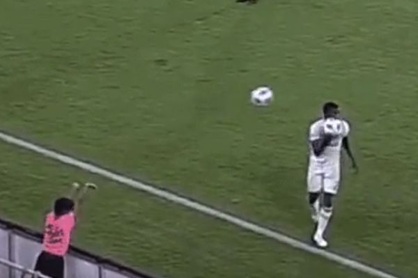 DC United ball boy knocks ball out of Portland Timbers player's hands with another ball