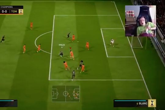 A professional FIFA player gets cramp during a live game