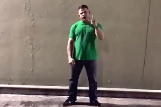 A Miami fan attempts to organise a fight with Millwall hooligans