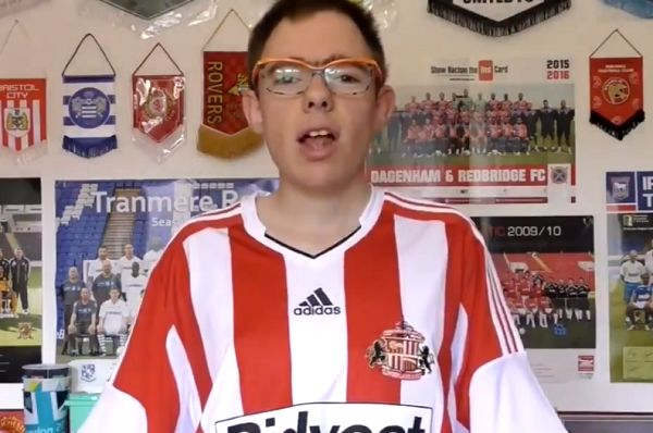 A fan sings the Sunderland Bootboys song to camera