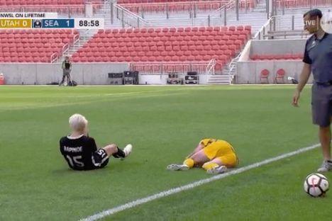 Utah player Becca Moros mimics dive by Seattle's Megan Rapinoe in a NWSL clash between them