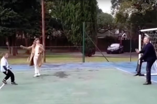 President of Argentina Mauricio Macri is hit in the nuts by a child's penalty