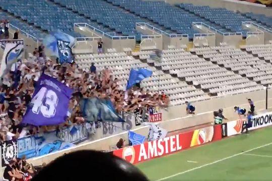 FC Zürich's Benjamin Kololli misjudges a drop after scoring at AEK Larnaca in the Europa League