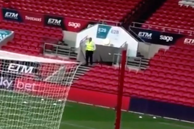 A dancing steward at Ashton Gate before Bristol City 4-1 Blackburn
