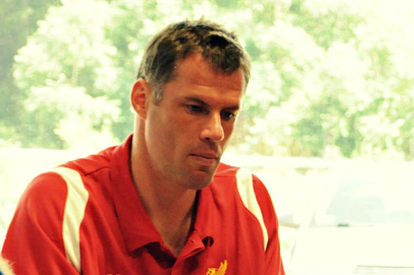 Jamie Carragher was spotted at Bongo's Bingo gasping at a nearly naked man