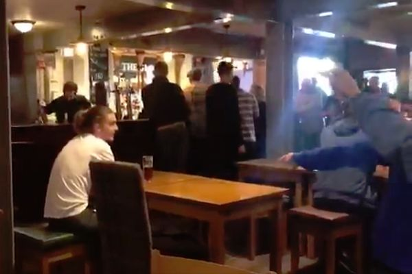 Leeds supporters find a Luke Ayling lookalike in a pub in Sheffield and chant