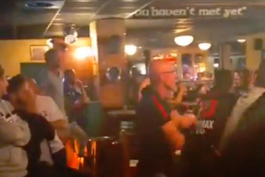 Liverpool fan celebrates Firmino's winner against PSG on his own in bar in Nice