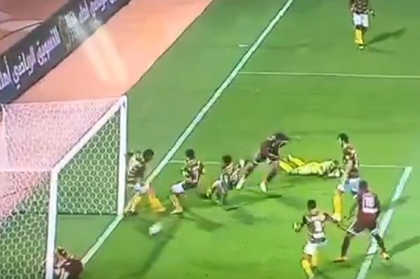 Injured attacking player clears shot off the line with his backside in Saudi Arabia