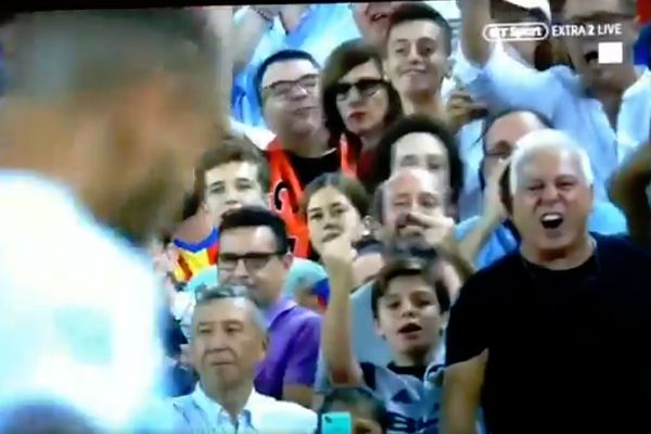 Child fan swears at Cristiano Ronaldo after his red card in the Champions League against Valencia