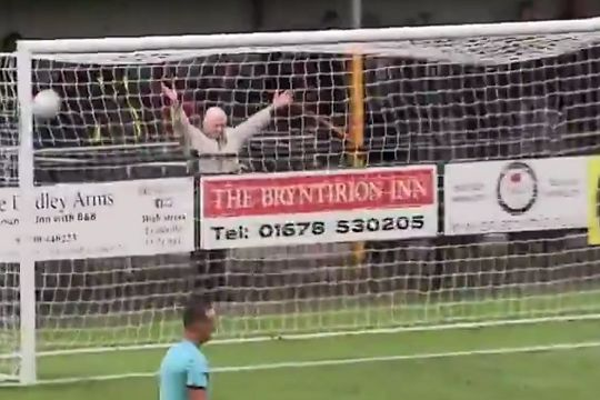 Dai, a Llanelli Town fan, always behind the goal to celebrate with arms in the air when they score