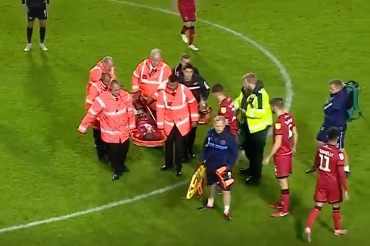 A pass from a drop ball hit Walsall's Isaiah Osbourne in the face before he was stretchered off in their 0-0 draw with Shrewsbury