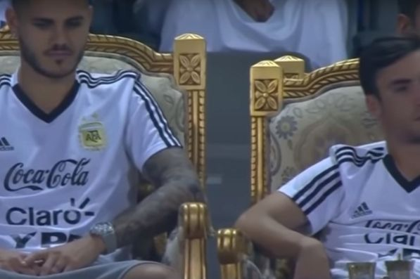 Non-playing Argentina squad members watch 4-0 friendly win over Iraq from golden thrones