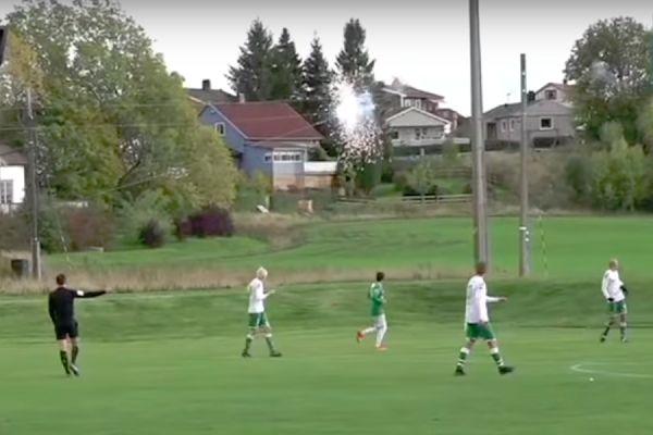 The ball hits power lines during Selbak vs Vestfossen in Norwegian 3. divisjon Group 2