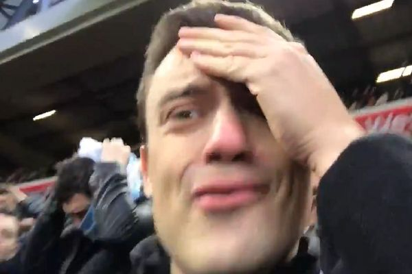 Buvey, a Man City fan, videos himself as Mahrez misses a penalty against Liverpool in their 0-0 draw at Anfield