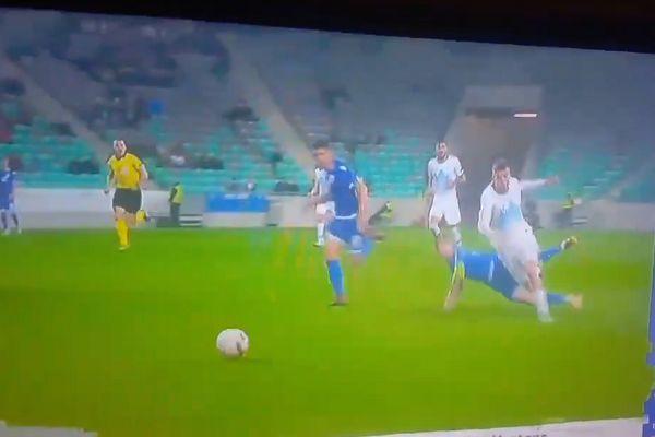 Cyprus captain Jason Demetriou was sent off for this tackle on Slovenia's Domen Črnigoj in the Nations League