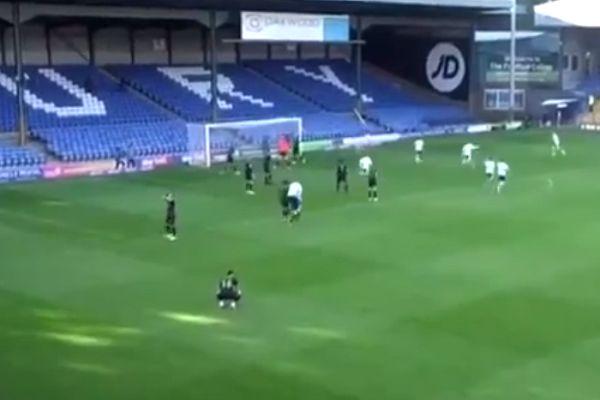 Bury's Danny Mayor jumps on the referee's back celebrating Nicky Maynard's late equaliser against Mansfield