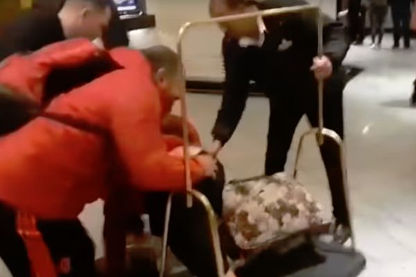 Flamengo players fall over luggage trolley at hotel after win in Paraná