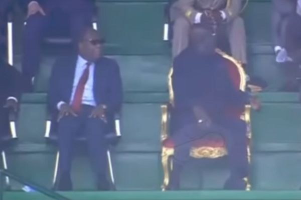 George Weah sits on a throne to watch Congo vs Liberia
