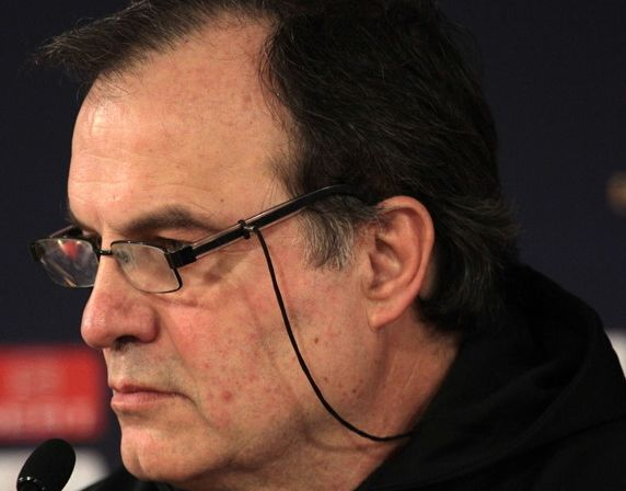 A young Leeds fan dressed up as manager Marcelo Bielsa for Halloween