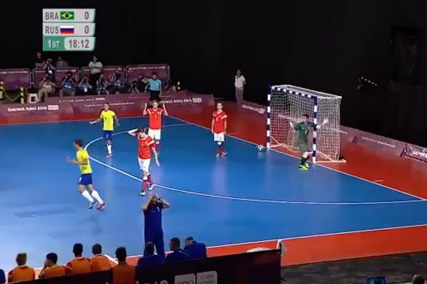 Russia's Danil Karpuik scores an own goal in the Youth Olympics futsal final