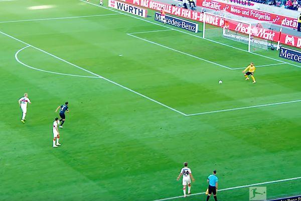 Stuttgart goalkeeper Ron-Robert Zieler scores an own goal from a throw-in by Borna Sosa against Werder Bremen