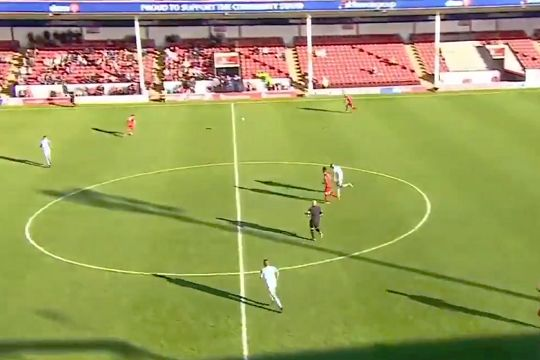 Walsall players run into each other in added time at the end of a 0-1 defeat to Accrington Stanley
