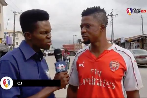 An Arsenal fan can't spell Özil when asked during an interview for a YouTube channel in Lagos