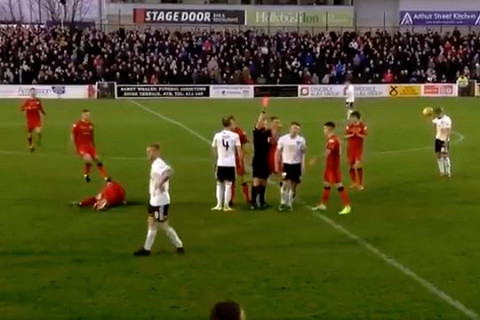 Ayr United 's Craig Moore was sent off for kicking Morton's Gregor Buchanan in his ball
