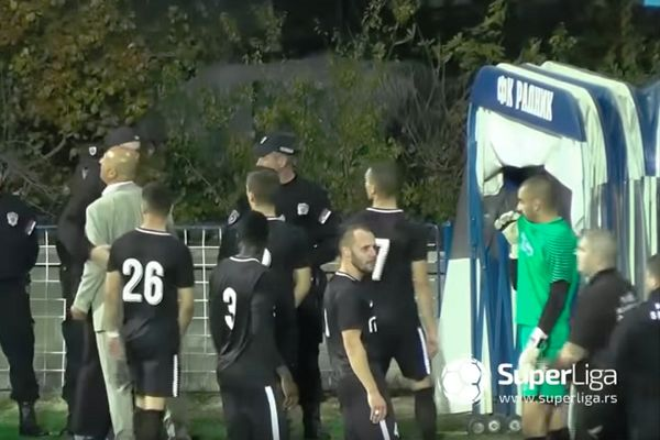 Serbian team Dinamo Vranje walk off pitch in protest after a was penalty awarded against them in a clash at Radnik Surdulica
