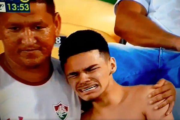 A Fluminense fan crying during a 0-2 Copa Sudamericana semi-final second leg defeat to Atlético Paranaense
