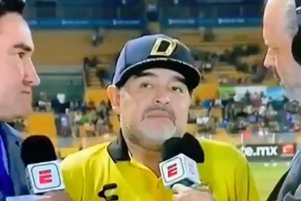 Dorados de Sinaloa manager Diego Maradona paused for a long time before answering a question from ESPN in a post-match interview