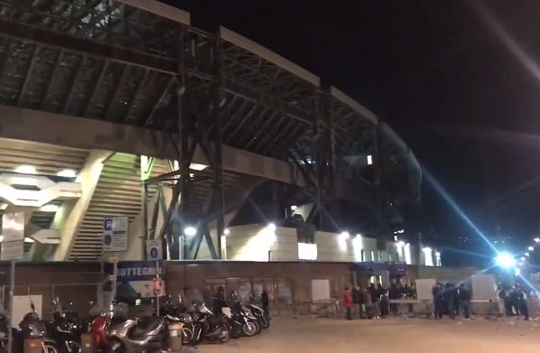 The Stadio San Paolo, where Napoli fans sang along with the Champions League Anthem before the 3-1 win over Red Star Belgrade