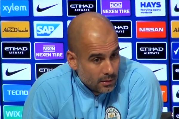 Pep Guardiola reacts with confusion as a journalist asks him when Raheem Sterling will sign a new deal
